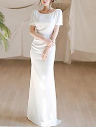 cheap -Mermaid / Trumpet Minimalist Elegant Engagement Formal Evening Dress Jewel Neck Short Sleeve Floor Length Italy Satin with Sleek 2021