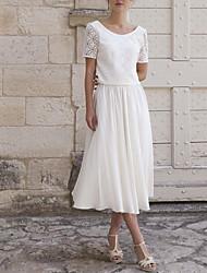 cheap -Sheath / Column Wedding Dresses Jewel Neck Tea Length Lace Short Sleeve Country Romantic with 2021