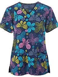 cheap -Women's Plus Size Tops T shirt Print Short Sleeve V Neck Blushing Pink Black Red Big Size L XL XXL XXXL 4XL
