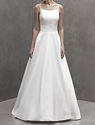 cheap -A-Line Wedding Dresses Spaghetti Strap Court Train Italy Satin Sleeveless Country Simple with 2021