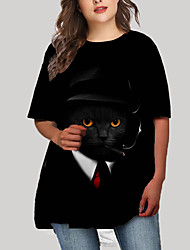 cheap -Women's Plus Size Cat Graphic Animal Print Casual Half Sleeve Fall Short Mini Dress T Shirt Dress Tee Dress Black
