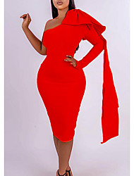cheap -Women's Plus Size Dress Sheath Dress Knee Length Dress Long Sleeve Solid Color Backless Casual Spring &  Fall Blue Red L XL XXL 3XL