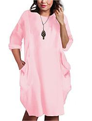cheap -Women's T Shirt Dress Tee Dress Knee Length Dress Light Pink Black Army Green Gray Plain Pocket S M L XL XXL XXXL 4XL 5XL / Plus Size