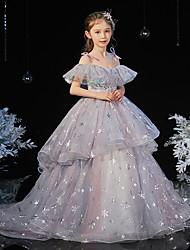 cheap -Princess Sweep / Brush Train Flower Girl Dresses Formal Evening Chiffon Short Sleeve Spaghetti Strap with Tier