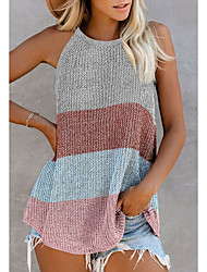cheap -Women's Knitted Color Block Vest Sleeveless Sweater Cardigans Crew Neck Fall Winter White Blue Blushing Pink