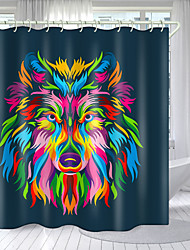 cheap -Deep Colored Wolf Head Digital Printing Shower Curtain Shower Curtains  Hooks Modern Polyester New Design
