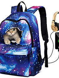 cheap -Unisex Kids Canvas School Bag Rucksack 3D Large Capacity Waterproof Zipper 3D Print Galaxy Cat Daily Traveling Backpack Black Blue Purple Red