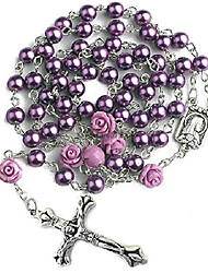 cheap -Catholic Purple Pearl Beads Rosary Necklace 6pcs Our Rose Lourdes Medal & Cross NS