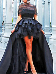 cheap -A-Line Vintage Sexy Engagement Prom Dress Illusion Neck Short Sleeve Asymmetrical Satin Tulle with Pleats Tier 2021