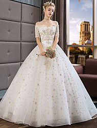 cheap -Princess Ball Gown Wedding Dresses Off Shoulder Floor Length Lace Tulle Short Sleeve Romantic Luxurious with Beading Appliques 2021