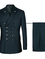 cheap -Navy / Black Solid Colored Standard Fit Polyster / Cotton Suit - Peak Double Breasted Six-buttons / Suits