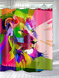 cheap -Color Bottom Lion Head Digital Printing Shower Curtain Shower Curtains  Hooks Modern Polyester New Design