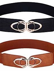 """cheap -beltox womens belts elastic stretch cinch plus fashion dress belts for ladies(46""""-58"""",black and brown 2 pack)"""