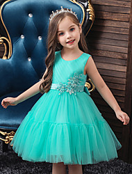 cheap -Princess / Ball Gown Knee Length Wedding / Party Flower Girl Dresses - Tulle Sleeveless Jewel Neck with Appliques / Solid