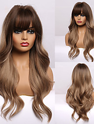 cheap -Synthetic Wig Curly Neat Bang Wig Medium Length A1 A2 A3 A4 A5 Synthetic Hair Women's Cosplay Party Fashion Brown