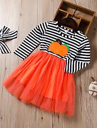 cheap -Kids Little Girls' Dress Striped Print Black Knee-length Long Sleeve Active Dresses Summer Regular Fit 2-12 Years