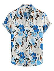cheap -Men's Shirt Floral Short Sleeve Daily Tops 100% Cotton Basic Boho Light Blue