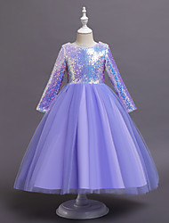 cheap -Ball Gown Ankle Length Flower Girl Dresses Wedding Tulle Long Sleeve Jewel Neck with Ruching