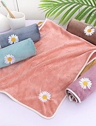 cheap -LITB Basic Bathroom Soft Coral Fleece Hand Towel Cute Daisy Flower Embroidery Solid Colored Comfortable Absorbent Daily Home Wash Towels 1 pcs 35*75cm