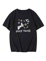 cheap -Men's T shirt Hot Stamping Graphic Prints Astronaut Print Short Sleeve Daily Tops 100% Cotton Fashion Vintage Classic Black