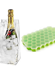 cheap -5 pcs PVC Ice Bags and 5 pcs Silicone Ice Cube Molds with Lid BPA Free for Chilled Drinks Whiskey Cocktail Food Reusable Champagne Wine Pouch Cooler Bag with Handle
