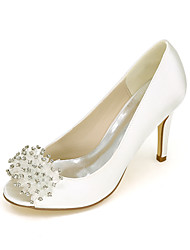 cheap -Women's Wedding Shoes Stiletto Heel Peep Toe Wedding Pumps Satin Beading Solid Colored White Black Purple