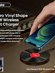 cheap -REMAX 20W Wireless Charger Vinyl Record Shape Fast Charging Wireless Charger for iPhone 12 Pro Max 11 XS Max Samsung S21 Ultra S20 Galaxy Z Fold2 Huawei Mate 40 Pro Xiaomi Mi 11 Desktop Wireless Charge