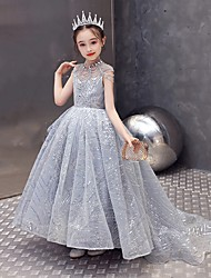 cheap -Ball Gown Sweep / Brush Train Event / Party / Formal Evening Flower Girl Dresses - Tulle Sleeveless Jewel Neck with Beading / Solid / Paillette