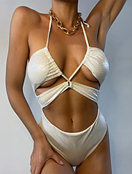 cheap -Women's One Piece Monokini Swimsuit Ruched Strappy Push Up Solid Color White Swimwear Halter Padded Strap Bathing Suits New Fashion Sexy / Cut Out