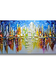cheap -Stretched Oil Painting Hand Painted Canvas Abstract Comtemporary Modern High Quality Blue Forest Ready to Hang