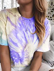 cheap -women's tie dye shirt women, summer tops,tye dye printed tshirts for women,colorful casual t shirt plus size 2x xxl 2xl rose xx-large