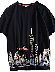 cheap -Men's Unisex T shirt Hot Stamping Graphic Prints Tall Building Plus Size Print Short Sleeve Casual Tops 100% Cotton Basic Casual Fashion White Black