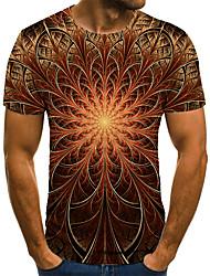 cheap -Men's T shirt 3D Print Geometric 3D Print Print Short Sleeve Casual Tops Casual Fashion Black / Red