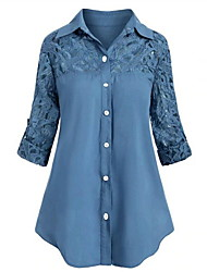 cheap -Women's Plus Size Tops Blouse Shirt Plain Embroidered Button Long Sleeve Shirt Collar Casual Comfort Daily Date Cotton Spring Summer Blue White
