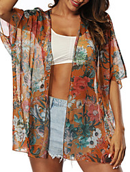 cheap -Women's Cover Up Swimsuit Floral Orange Swimwear Bathing Suits