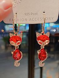 cheap -Women's Cubic Zirconia Hoop Earrings Drop Stylish Earrings Jewelry Red For Date Festival