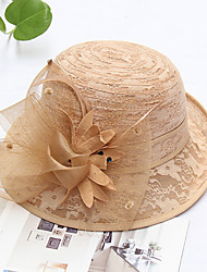 cheap -Vintage Style Elegant Tulle / Straw Hats / Headwear / Straw Hats with Feather / Lace / Appliques 1 Piece Casual / Holiday Headpiece