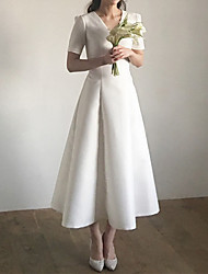 cheap -A-Line Wedding Dresses V Neck Ankle Length Satin Short Sleeve Simple Vintage Little White Dress 1950s with Pleats 2021