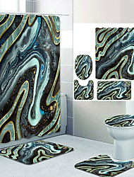 cheap -Plain Color Series14 Digital Printing Four-piece Set Shower Curtains and Hooks Modern Polyester Machine Made Waterproof Bathroom