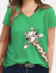 cheap -Women's Plus Size Tops T shirt Print Graphic Giraffe Animal Large Size V Neck Short Sleeve Big Size XL XXL 3XL 4XL 5XL White Blue Yellow / 100% Cotton
