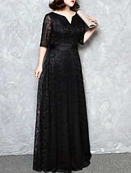 cheap -A-Line Minimalist Plus Size Wedding Guest Formal Evening Dress V Neck Half Sleeve Floor Length Lace with Sash / Ribbon 2021