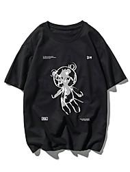 cheap -Men's Unisex T shirt Hot Stamping Cartoon Plus Size Print Short Sleeve Casual Tops 100% Cotton Basic Casual Fashion Black