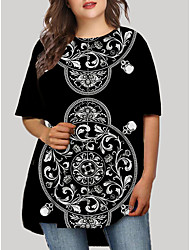 cheap -Women's Plus Size Graphic Floral Print Casual Half Sleeve Fall Short Mini Dress T Shirt Dress Tee Dress Black Green