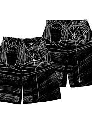 cheap -Men's Casual / Sporty Athleisure Jogger Shorts Daily Holiday Pants Spider web Short 3D Print Elastic Waist Black / Summer