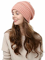 cheap -updateclassic cold weather knit slouchy beanies for women solid color fleece line ski skull cap ladies warm hat pink