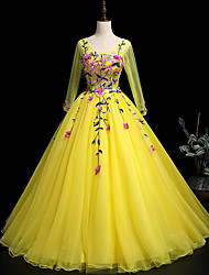 cheap -Ball Gown Elegant Floral Prom Formal Evening Dress Scoop Neck Long Sleeve Floor Length Tulle with Pleats Appliques 2021