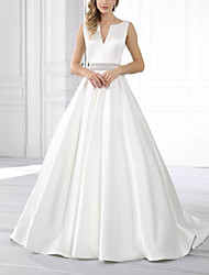 cheap -A-Line Wedding Dresses V Neck Sweep / Brush Train Satin Sleeveless Formal Simple with Crystal Brooch 2021