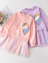 cheap -Kids Little Girls' Dress Horse Animal Tulle Dress Mesh Patchwork Print Purple Blushing Pink Above Knee Long Sleeve Cute Dresses Slim