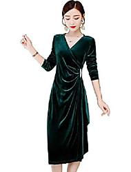 cheap -trtro party dress velvet v neck long sleeve irregular skirt hemlines (green, l)