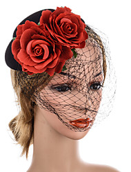 cheap -Net Yarn Headband Hairpin Red Rose Headdress Hat Hair Accessories